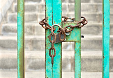 Chained And Locked Gate, Rusty...