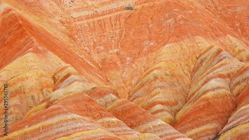 Beautiful nature landscape view of Zhangyei Danxia Landform in Gansu China Canvas Print