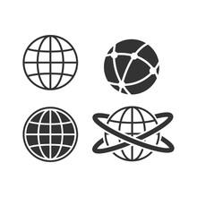 Globe Earth Icon Set On White Background