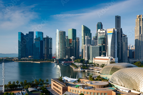 Fotografie, Tablou  Singapore business office building district in day light blue sky