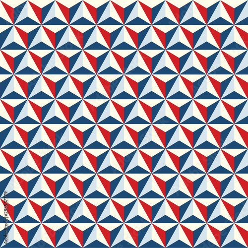 Seamless abstract geometric polygonal facet texture pattern background in red and blue Wallpaper Mural