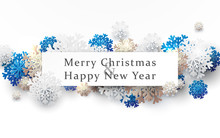 Merry Christmas And Happy New Year Banner. Abstract White, Gold And Blue Snowflakes With Space For Your Text. Paper Art And Craft Design. Space For Your Design