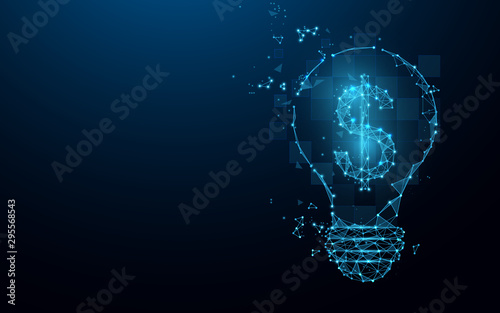 Fototapeta  Idea bulb with dollar sign from lines, triangles and particle style design