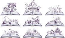 Set Of Open Books Fairy Tales ...