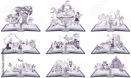 Pinturas sobre lienzo  Set of open books fairy tales illustration