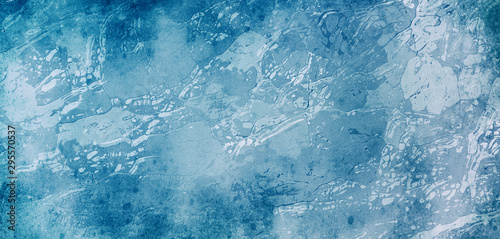 Fotografia, Obraz  Distressed blue background with white marbled grunge texture in old vintage wall