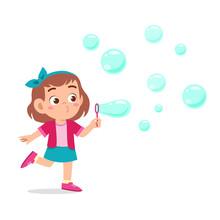 Happy Cute Kid Girl Blow Bubbl...