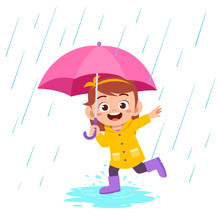 Happy Cute Kid Girl Play Wear Raincoat