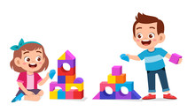 Happy Cute Kids Play Brick Blo...