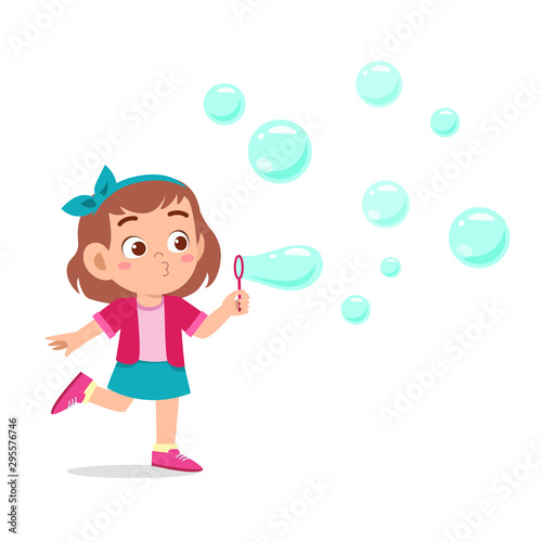 Obraz na plátně happy cute kid girl blow bubble soap