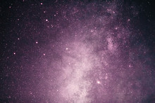 Fantasy Of Pink Milky Way Galaxy With Stars And Darkness Space Background In Romance Valentine Concept.