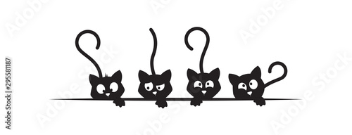 Four cats silhouettes, funny illustration, vector, cartoon, children wall decals, kids wall artwork isolated on white background, minimalist poster design