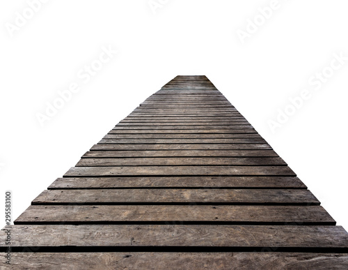 Foto auf Gartenposter Brücken Old brown wooden bridge isolated on white background.