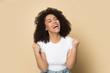 Overjoyed african American girl feel euphoric with news