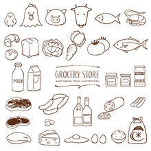 スーパーマーケットの食料品 手描き イラスト 線画