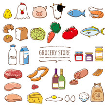 スーパーマーケットの食料品 手描き イラスト 色