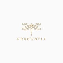 Dragonfly Logo Icon Design Template. Line Art, Elegant, Mono Line, Luxury Vector Illustration