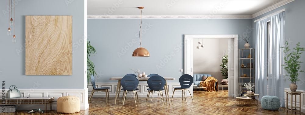 Fototapeta Modern interior of apartment, dining room with table and chairs, living room with sofa, hall, panorama 3d rendering