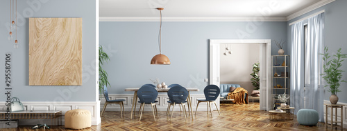 Modern interior of apartment, dining room with table and chairs, living room with sofa, hall, panorama 3d rendering