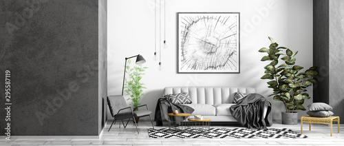 obraz PCV Modern interior of apartment, living room with grey sofa, black armchair, coffee tables and plant, panorama 3d rendering