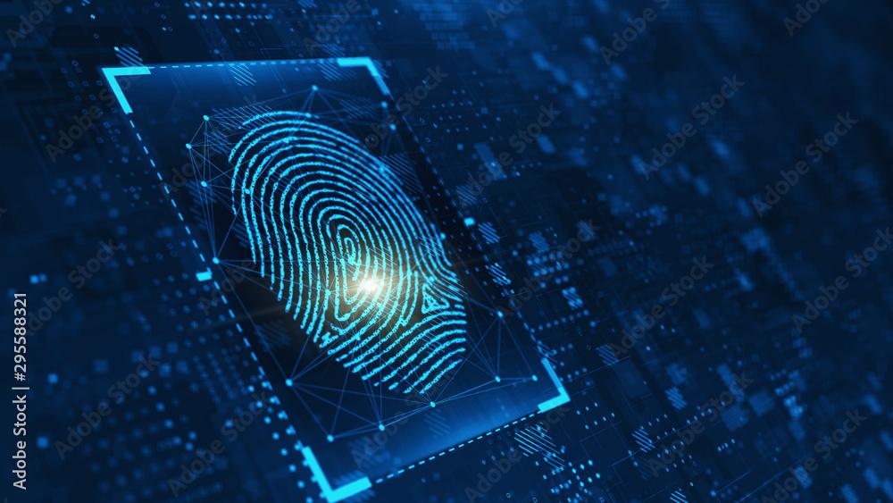 Fototapeta Digital biometric, security and identify by fingerprint concept. Scanning system of the fingerprint. 3d rendering