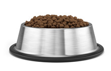 Dog Or Cat Dry Food In Stainless Steel Bowl Isolated On White - Pets Bowl. 3d Illustration.