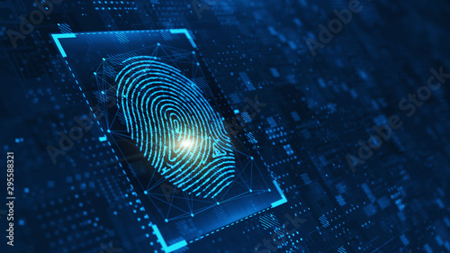 Fotografía  Digital biometric, security and identify by fingerprint concept