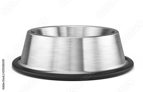 Empty Dog or Cat stainless steel bowl for food isolated on white - pets bowl Fototapete