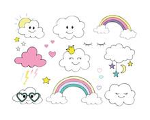 Vector Set Of Flat Weather Icons Icons Rainbow Stars Thunder Moon Sun Rain Clouds Eyelashes Stars.