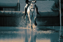 Horse And Rider At A Water Jump Competing, In The Cross Country Stage, At An Equestrian Three Day Event. With Colour Toning