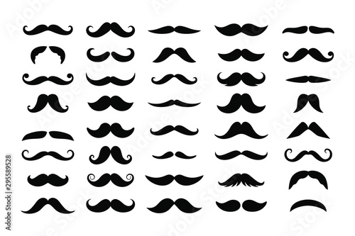 Obraz Big set of mustaches black silhouettes. Collection of men's mustaches. Vector illustration - fototapety do salonu