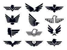 Eagle Symbol. Silhouette Flyin...