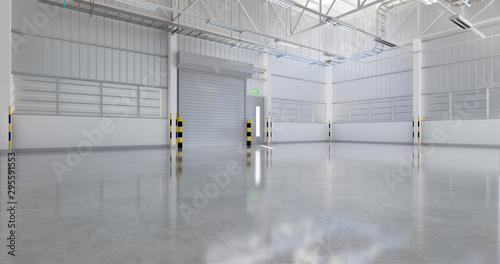 Roller door or roller shutter inside factory, warehouse or industrial building Fototapet
