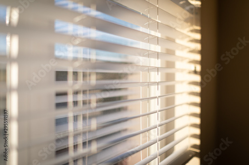 Sunlight coming through venetian blinds by the window Canvas Print