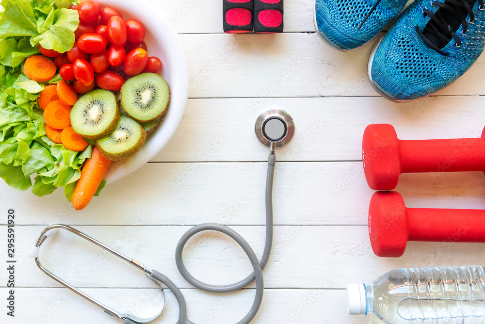 Fototapety, obrazy: Healthy lifestyle for women diet with sport equipment, sneakers, measuring tape, vegetable fresh, green apples and bottle of water on blue wooden. Healthy Concept