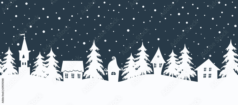 Fototapety, obrazy: Christmas background. Fairy tale winter landscape. Seamless border. There are white houses and fir trees on a dark blue background. Winter village. Vector illustration