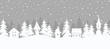 Christmas background. Fairy tale winter landscape. Seamless border. There are white houses and fir trees on a gray background. Winter village. Vector illustration