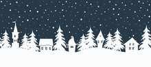 Christmas Background. Fairy Tale Winter Landscape. Seamless Border. There Are White Houses And Fir Trees On A Dark Blue Background. Winter Village. Vector Illustration