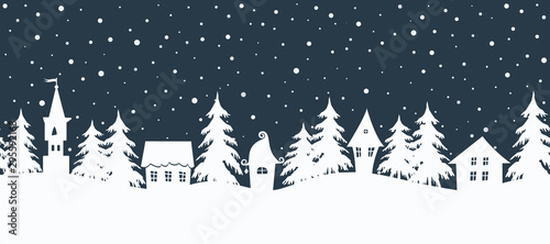 Foto op Plexiglas Wit Christmas background. Fairy tale winter landscape. Seamless border. There are white houses and fir trees on a dark blue background. Winter village. Vector illustration