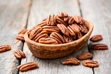 Tasty Peeled Pecan Nuts In Woo...