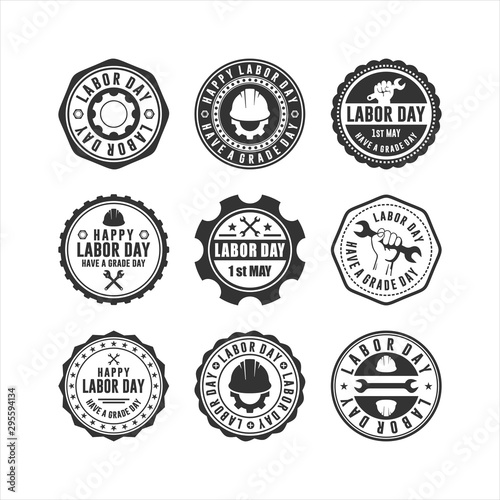 Recess Fitting Retro Flat Labor Day Badge Collections