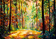 Hand painted Autumn nature landscape art. Sunny autumn forest painting. Beautiful colorful trees in woodland illustration. Scenic wild nature artwork