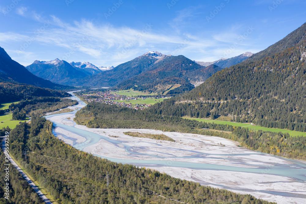 Fototapeta fall autumn nature panorama at lechtal river in austria tirol mountains