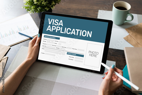 Photo Online Visa application form on screen. Country Visit permit.