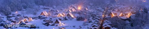 Foto op Plexiglas Panoramafoto s Winter Landscape of Shirakawago Panoramic
