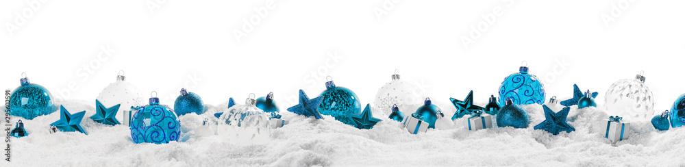 Fototapeta Christmas border with blue ornaments