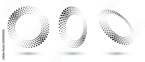 Fotografía  Halftone circle frame, abstract dots logo emblem design element for any project