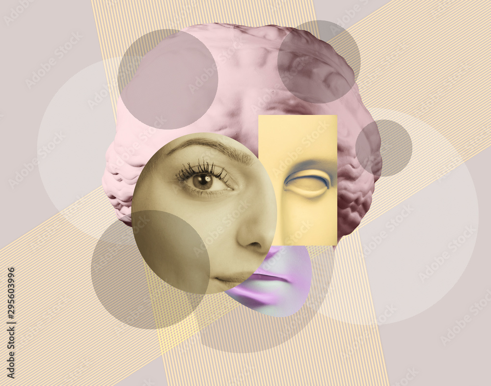 Fototapeta Contemporary art concept collage with antique statue head in a surreal style. Modern unusual art.