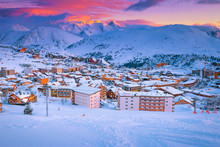 Fantastic Ski Resort At Sunset...