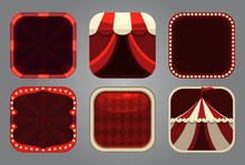 Square App Icons In Circus Style. Festive Frames.